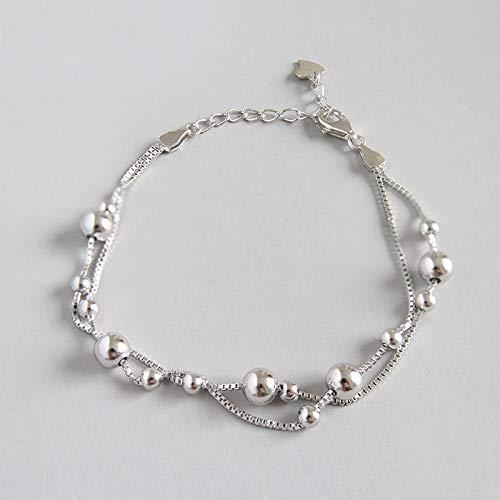 DGFGCS Ladies silver bracelet 925 Sterling Silver Beads Double-Deck Chain Bracelet For Women Girls Lady Wedding Jewelry Gift