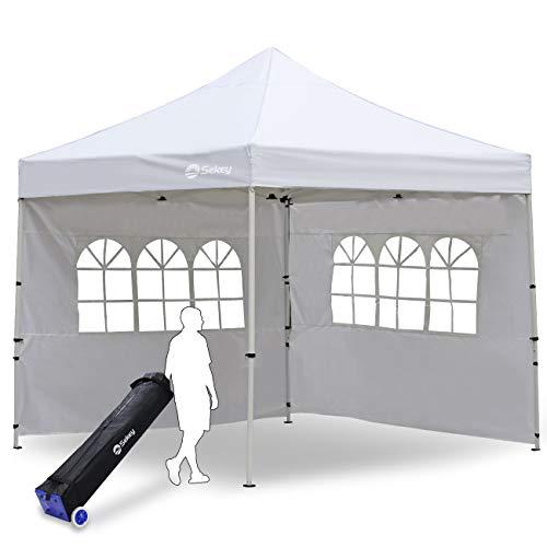 Sekey 3X3m Pavillon Faltpavillon 100% Wasserdicht Gartenpavillon für Party Festzelt Hochzeit, mit 2 Seitenteilen, Weiß