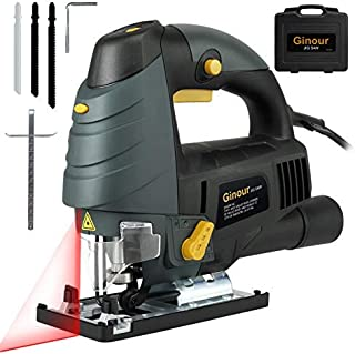 Jigsaw, Ginour 7.0A 3000SPM Jig Saw with Laser Guide & LED, 6-level Variable Speed, ±45°Bevel Angle, 3PCS Blades, Scale Ruler and Carrying Case