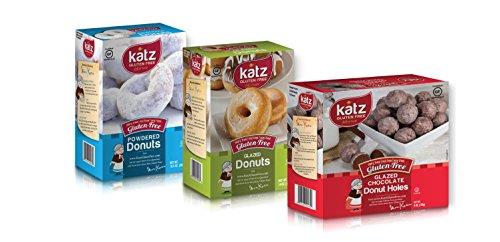 Katz Gluten Free Variety Pack | 1 Glazed Donuts, 1 Powdered Donuts, 1 Glazed Chocolate Donut Holes | Dairy Free, Nut Free, Soy Free, Gluten Free | Kosher (1 Pack of each)