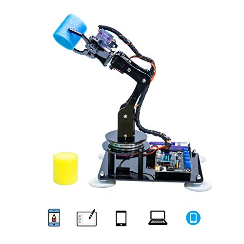 Gewbot 5-DOF Robot Arm Kit 5Axis Robotics Arm Compatible with Arduino IDE, DIY Coding Robot Kit, STEAM Programmable Robot Arm Kit with OLED Display, Education Robot with PDF Manual