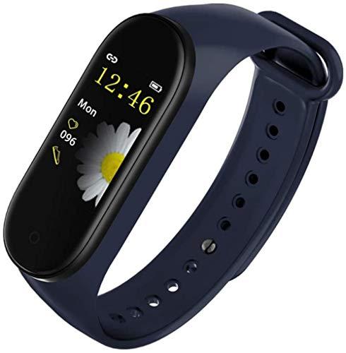 JSL Pulsera inteligente para Bluetooth 4.0 IP67, resistente al agua, frecuencia cardíaca, presión arterial, monitor de oxígeno, pulsera azul