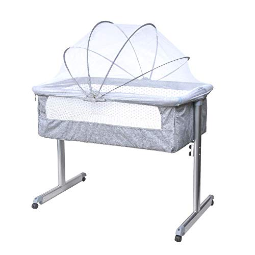 HomeSailing Baby Bedside Crib for Toddler Bassinet Sleeper with Mattress, Mobile Side Co-Sleeping Cots Grey with Wheels Mosquito Net for Newborn Infants