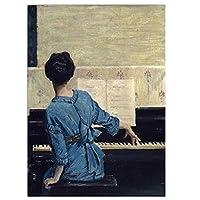 キャンバスプリントとポスター、ビンテージプレイピアノガールズ写真フィギュアキャンバス絵画壁アートピアノの部屋、ギャラリー、家の装飾、フレームレスのキャンバスの写真,50x60cm