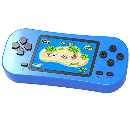 Beijue Retro Handheld Games for Kids Built in 218 Classic Old Style Electronic Game 2.5'' Screen 3.5MM Earphone Jack USB Rechargeable Portable Video Player Children Travel Holiday Entertain (Blue)