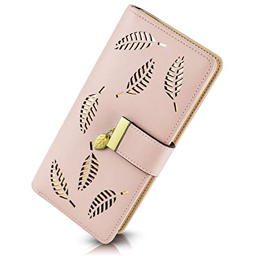PGXT Women's Long Leather Card Holder Purse Zipper Buckle Elegant Clutch Wallet (Pink), Large