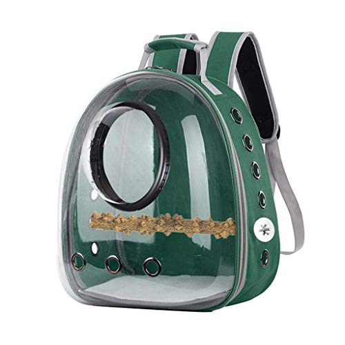 PHILSP Mochila de Viaje Mochila portadora de Loros Jaula de Viaje Pájaros Transpirable Transparente Espacio cápsula Verde