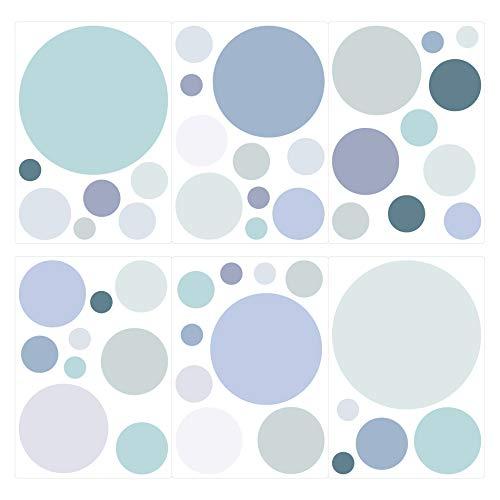 I-love-Wandtattoo Pegatina de Pared Set habitación Infantil círculos en Colores Pastel en Tonos Azules Grises y Verdes Unidades Puntos para Pegar Adhesivos de Pared Pegatinas decoración de la