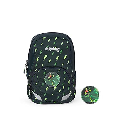 ergobag Ease Large Kids Backpack Mochila, Unisex niños, Black Green Blizzard, 10 L