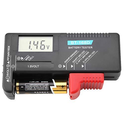 Pilas de botón Monitor de prueba de nivel de vida útil de la batería portátil, Comprobador de batería digital Comprobador de voltaje de batería para el hogar AA, AAA, C, D, PP3, 9 V, 1,5 V