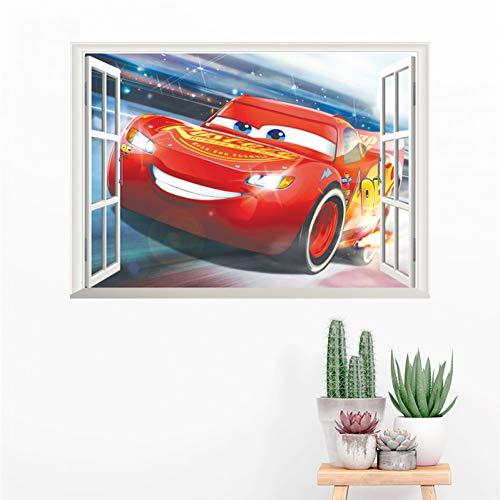 VIOYO 3D Foudre mcqueen 50 * 70 cm fenêtre Stickers muraux Chambre décor à la Maison Disney Voitures Stickers muraux PVC Peinture Murale Bricolage Affiches