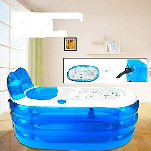 Faltbare Aufblasbare Dicke Warme Erwachsene Badewann PVC Spa-Badewanne, Kinder Aufblasbare Pool (Blau)