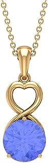 2 قيراط قلادة القلب مع تنزانيت سوليتير (8 مم شكل دائري)