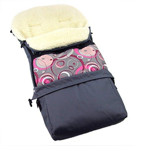 Saco de invierno Rawstyle 3 en 1 de lana de cordero (gris + semicircular, rosa) 110 cm o 85 cm para capazo, cochecito, trineo, cochecito y saco de lana