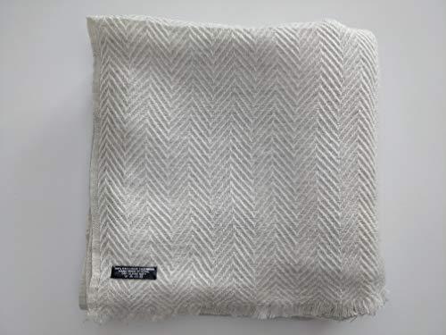 Annapurna Cashmere Lujosa manta de cachemira de 100% lana de cachemira, 125 cm x 250 cm, tejida a mano de Nepal (espina de pescado blanca)