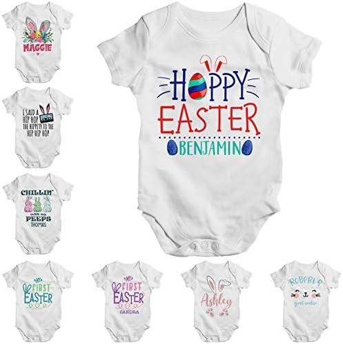 Personalized Easter Baby Onesie Gift for Boy Girl Custom Bunny Rabbit Egg Design Short Sleeve product image