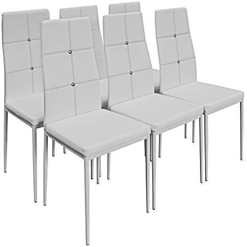 Deuba 6er Set Esszimmerstühle Gepolstert Kunstleder Metallbeine Küchenstuhl Polsterstuhl Wohnzimmerstuhl Design - Weiß