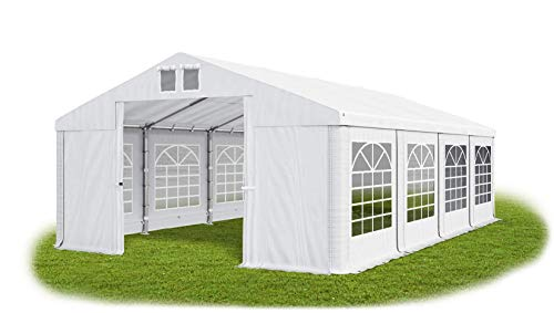 Das Company Partyzelt 5x8m wasserdicht weiß Zelt 560g/m² PVC Plane Hochwertigeszelt Gartenzelt Summer SD