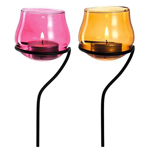 Leonardo Giardino Balkonlicht, 6er Set, Teelichthalter, Kerzenhalter, Teelicht Halter, Terasse, Dekoration, Pink / Orange, 35 cm, 031727