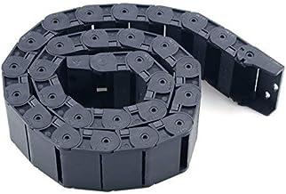DealMux 18mm x 50mm Zwarte Plastic Flexibele Genestelde Semi Gesloten Drag Chain Kabel Draad Drarier 1M voor Elektrische M...