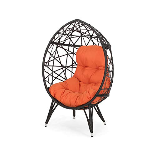 Doris Outdoor Wicker Teardrop Chair with Cushion, Brown and Orange