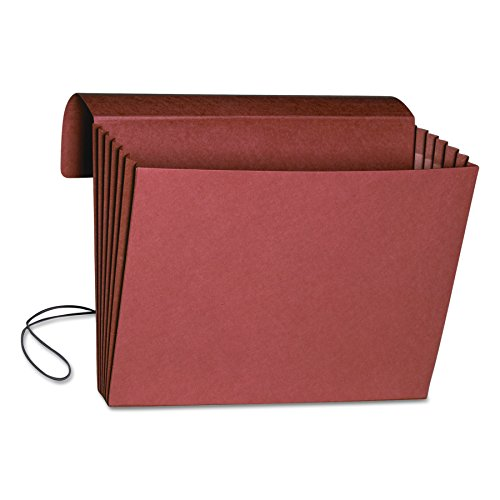 """Smead Expanding File Wallet with Flap and Cord Closure, 5-1/4"""" Expansion, Fully-Lined Tear Resistant Gusset, Legal Size, Redrope, 10 per Box (71111)"""