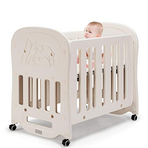 GYMAX Baby Cot Bed, 3 in 1 Convertible Crib with Mattress and Removable Wheels, 2 Adjustable Positions Toddler Bed Rocking Cribs, 106 x 70cm