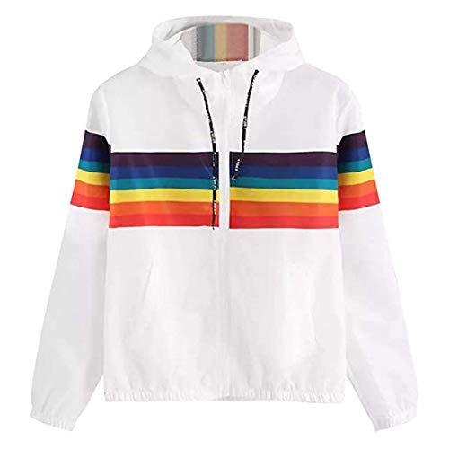 Damen Hoodie Langarm Rainbow Striped Patchwork Jacke Casual Sweatshirt Herbst Winter...