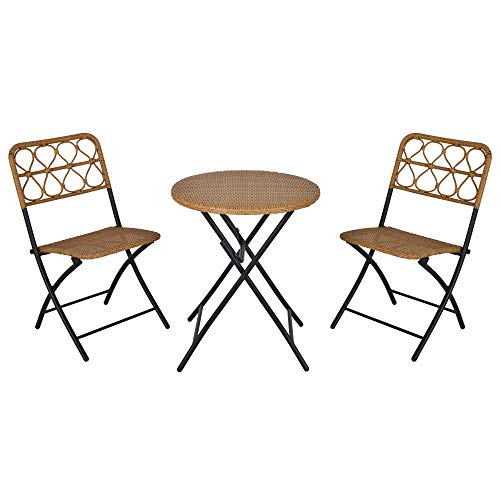 Outsunny Set 3 Pezzi Tavolino con Sedie da Giardino Pieghevoli Set da Esterno in Rattan Sintetico e Acciaio, Color Legno