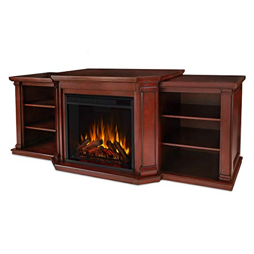 Valmont Media Electric Fireplace in Dark Mahogany by Real Flame