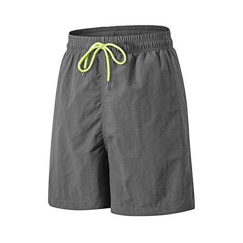 TOMSHOO Hombres Pantalones Cortos Deportivos Verano Hip Fitness Running Ropa Deportiva Corbata Cinturón Cintura Pantalones Calientes Pantalones Cortos Sueltos de Rendimiento (L, Gris)
