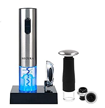Secura 7 Pieces Wine Accessories Set Electric Wine Opener Foil Cutter Wine Saver Vacuum Pump and 2 Wine Stoppers
