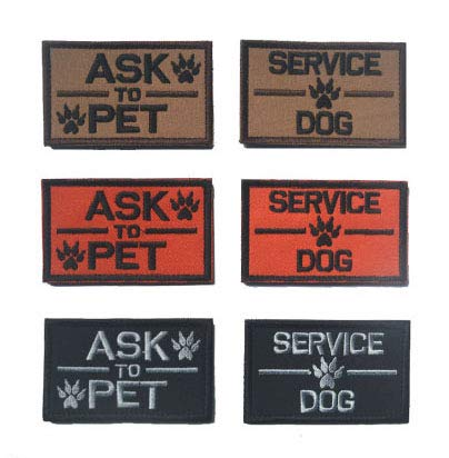 Antrix Bundle 6 Pieces Ask to Pet Service Dog Tactical Emblem Badge K9 Service Dog Working Dog Patches for Pets and Dogs