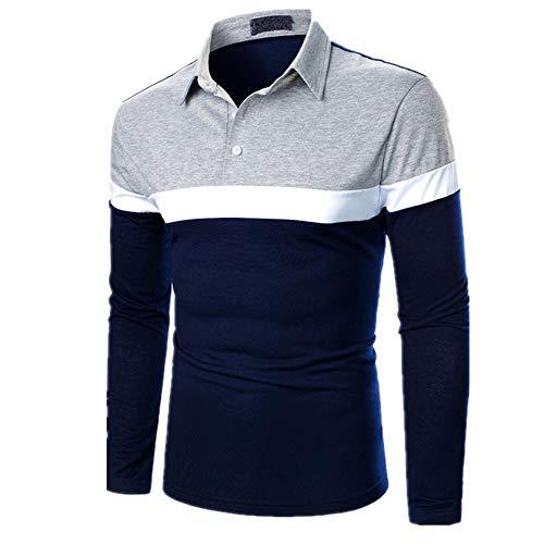 Camiseta de manga larga para hombre, con costuras de tres colores, estilo casual