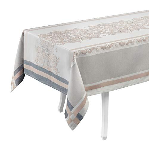 Tovaglia in cotone, tovaglia centrale, design di lusso (tovaglia 150 x 300, #Elegance - Beige/Blu)