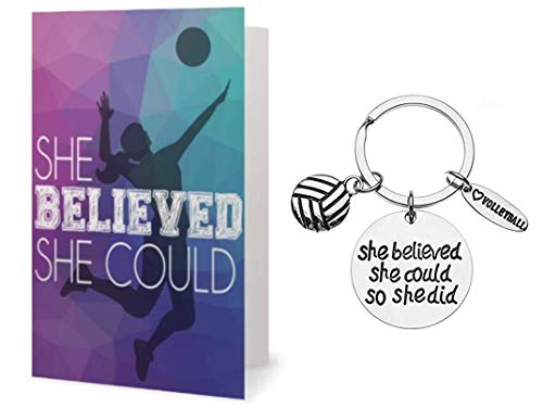 Volleyball Keychain & Card Gift Set - Girls Volleyball She Believed She Could So She Did Jewelry, Perfect Volleyball Gifts for Volleyball Players