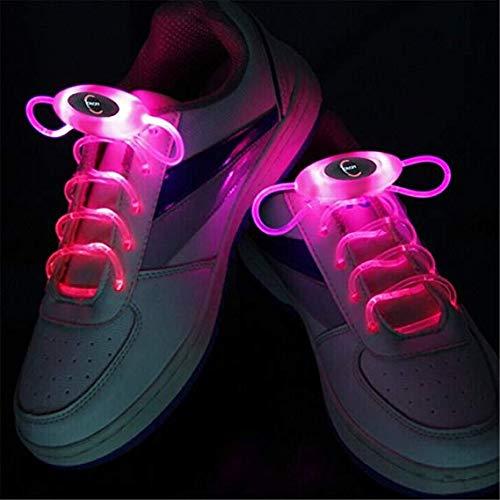 Zhaolan-Home Decoration Heimtextilien 80cm Glow Shoelaces LED Sport Schnürsenkel Glow Stick Flashing Neon Luminous Laces Pink Wohnaccessoires (Color : Pink)