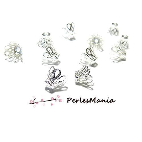 perlesmania.com 50 coupelles Coquille calottes Cones Dentelles 11mm 2N6406 Metal Couleur Argent Vif