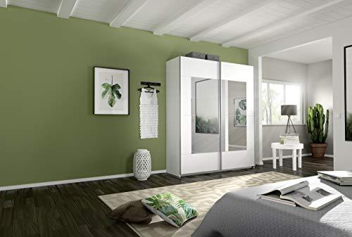 Rauch Möbel Crato Schrank Schwebetürenschrank 2-türig in Weiß mit Spiegel inkl. Zubehörpaket Basic 2 Kleiderstangen, 2 Einlegeböden, BxHxT 175x210x59 cm