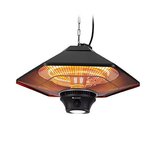 blumfeldt Heat Hexa Infrarot-Heizstrahler Terrassen-Heizstrahler Elektroheizung, Heizleistung: 800/1200 / 2000 W, IR ComfortHeat, Halogen-Heizelemente, LED-Beleuchtung, Touch-Screen, schwarz