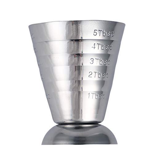 FANGPAN 75ml Vaso de Medida de la Onza Jigger Bar Mezclador de Bebidas de cóctel Taza de medir de Licor Medidor de Mojito Taza de café de Acero Inoxidable