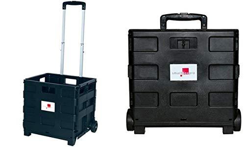 smartboxpro 353190601 Klapp-Transportkarre mit Klappbox, schwarz
