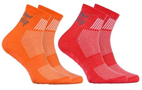 Rainbow Socks - Niño Niña Deporte Calcetines Antideslizantes ABS de Algodón - 2 Pares - Naranja Rojo - Talla 30-35