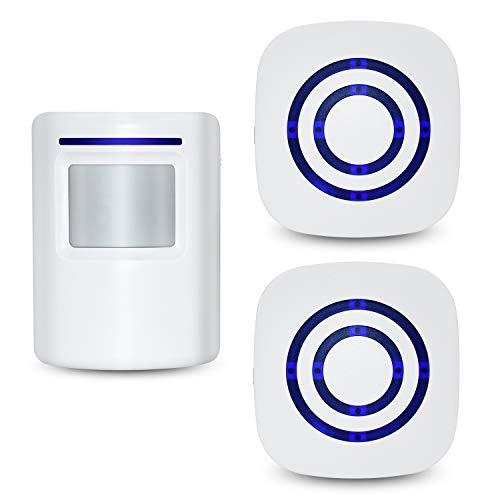 Tengcong - Timbre inalámbrico para Puerta de Negocios, Sensor de Movimiento, Alarma de Seguridad para el hogar con 2 sensores y 1 Receptor