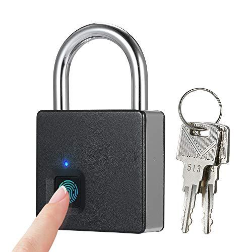 Decdeal Cerradura Inteligente de Huellas Digitales USB Recargable 10 Juegos IP65 Impermeable Antirrobo Candado de Seguridad Puerta Equipaje Cerradura con 2 Llaves
