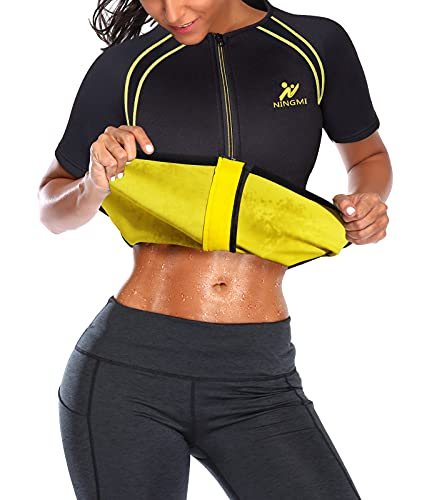 NINGMI Sauna Suit for Women Sweat - Zipper Neoprene Shirt Waist Trainer Womens Slimming Jacket Workout Body Slim Short Sleeve Gym