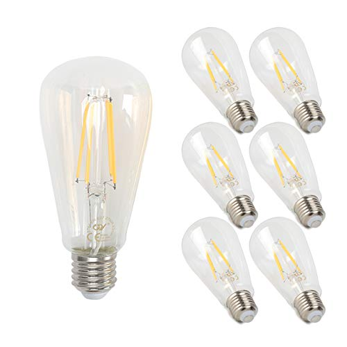 GY Bombilla LED Edison vintage, 8W, equivalente a 80W, 850 lúmenes, blanco cálido 2700K de alto brillo, bombilla de filamento LED antiguo ST64, cristal transparente, 6 uds. cada paquete