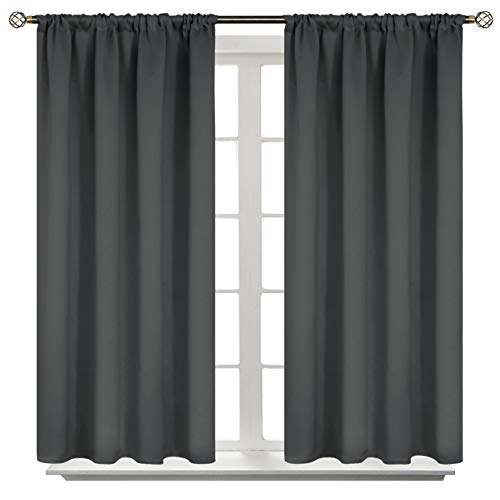 BGment Rod Pocket Blackout Curtains for Bedroom - Thermal Insulated Room Darkening Curtain for Living Room, 42 x 45 Inch, 2 Panels, Dark Grey