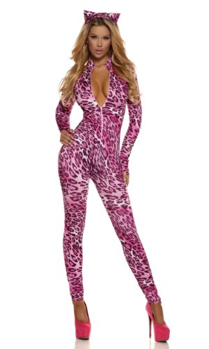 Forplay Women's Purrrfection Zipfront Catsuit with Ears, Pink, Large/X-Large