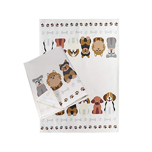 SPOTTED DOG GIFT COMPANY Paños de Cocina Algodón 100% 50 x 70 cm, Juego de 2, con un Diseño de Perros, para los Amantes de los Perros y Animales